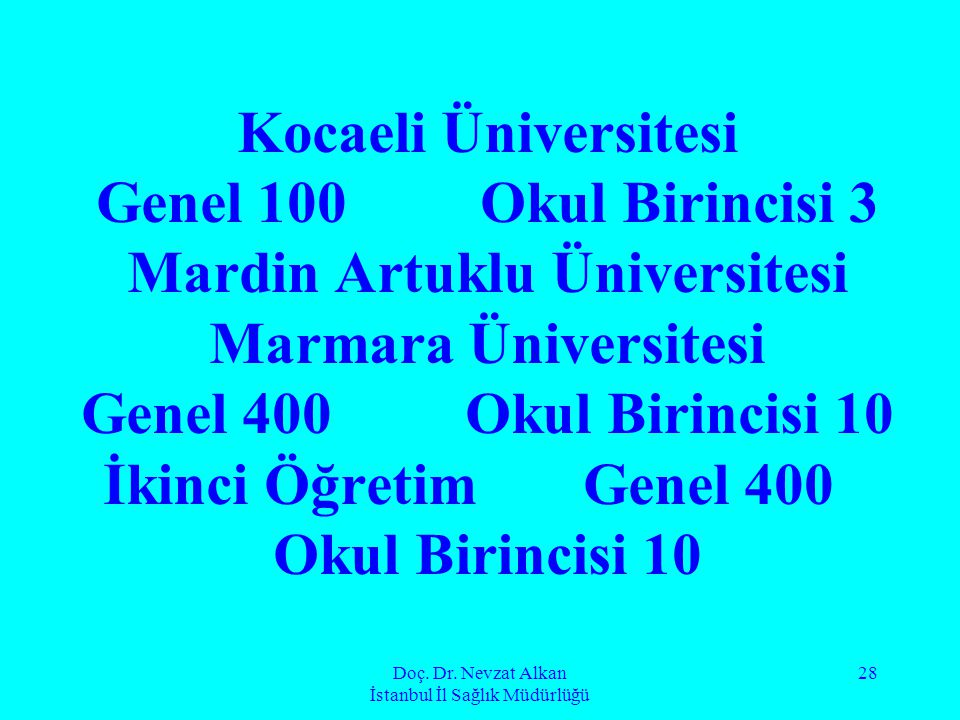 Doç. Dr. Nevzat Alkan İstanbul İl Sağlık Müdürlüğü 28 Kocaeli Üniversitesi Genel 100Okul Birincisi 3 Mardin Artuklu Üniversitesi Marmara Üniversitesi