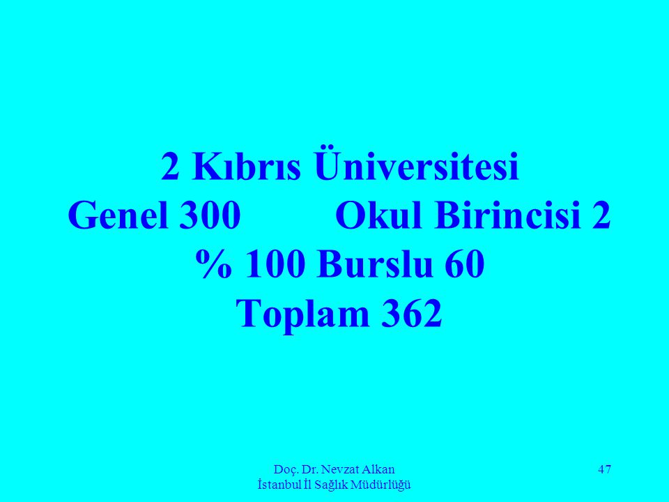 Doç. Dr. Nevzat Alkan İstanbul İl Sağlık Müdürlüğü 47 2 Kıbrıs Üniversitesi Genel 300Okul Birincisi 2 % 100 Burslu 60 Toplam 362