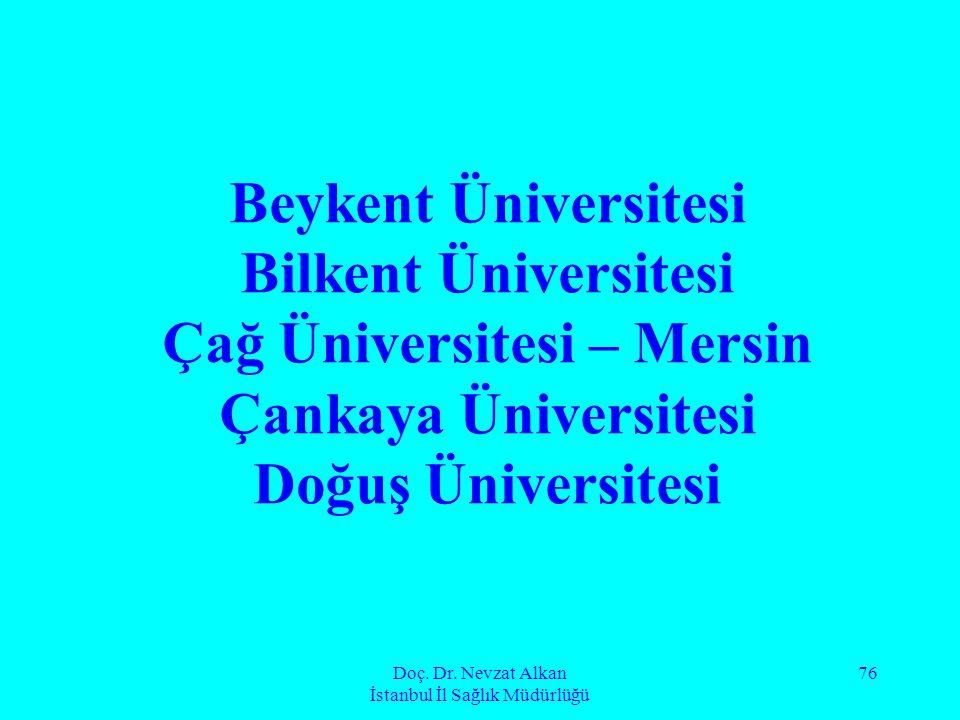Doç. Dr. Nevzat Alkan İstanbul İl Sağlık Müdürlüğü 76 Beykent Üniversitesi Bilkent Üniversitesi Çağ Üniversitesi – Mersin Çankaya Üniversitesi Doğuş Ü