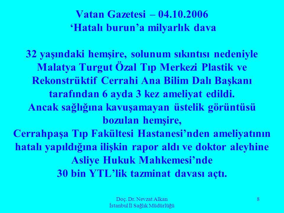 Doç. Dr. Nevzat Alkan İstanbul İl Sağlık Müdürlüğü 8 Vatan Gazetesi – 04.10.2006 'Hatalı burun'a milyarlık dava 32 yaşındaki hemşire, solunum sıkıntıs