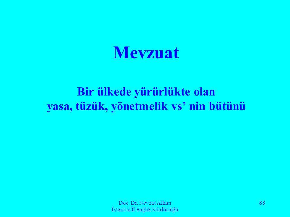 Doç. Dr. Nevzat Alkan İstanbul İl Sağlık Müdürlüğü 88 Mevzuat Bir ülkede yürürlükte olan yasa, tüzük, yönetmelik vs' nin bütünü
