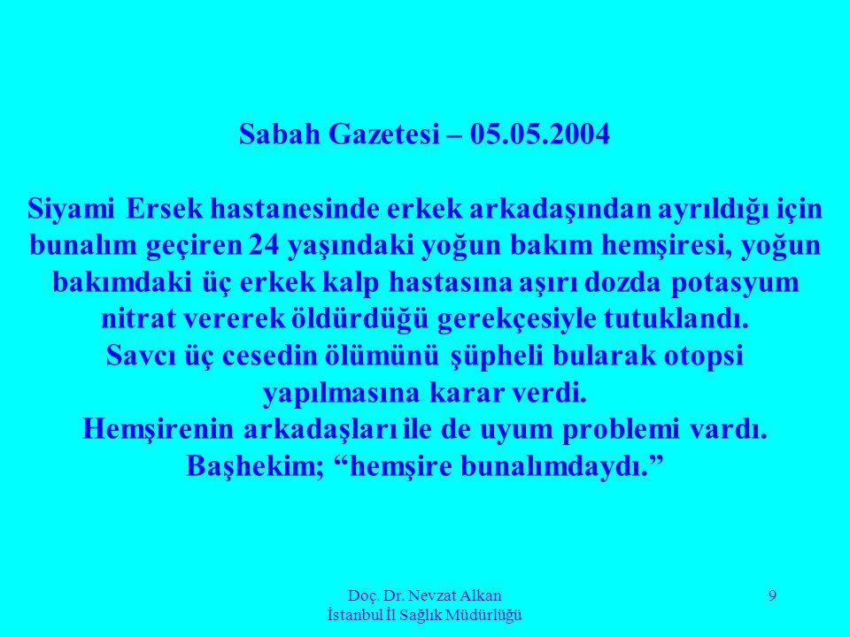 Doç. Dr. Nevzat Alkan İstanbul İl Sağlık Müdürlüğü 9 Sabah Gazetesi – 05.05.2004 Siyami Ersek hastanesinde erkek arkadaşından ayrıldığı için bunalım g