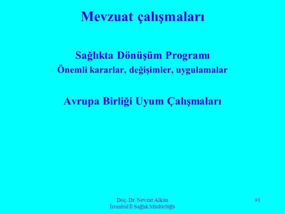 Doç. Dr. Nevzat Alkan İstanbul İl Sağlık Müdürlüğü 91 Mevzuat çalışmaları Sağlıkta Dönüşüm Programı Önemli kararlar, değişimler, uygulamalar Avrupa Bi