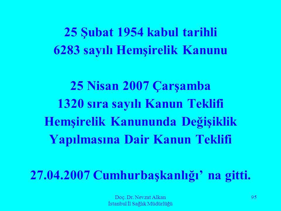 Doç. Dr. Nevzat Alkan İstanbul İl Sağlık Müdürlüğü 95 25 Şubat 1954 kabul tarihli 6283 sayılı Hemşirelik Kanunu 25 Nisan 2007 Çarşamba 1320 sıra sayıl