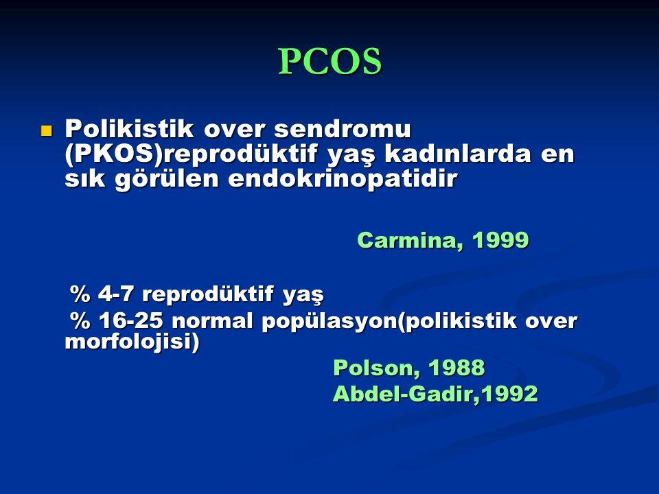 PCOS Polikistik over sendromu (PKOS)reprodüktif yaş kadınlarda en sık görülen endokrinopatidir Polikistik over sendromu (PKOS)reprodüktif yaş kadınlarda en sık görülen endokrinopatidir Carmina, 1999 Carmina, 1999 % 4-7 reprodüktif yaş % 4-7 reprodüktif yaş % 16-25 normal popülasyon(polikistik over morfolojisi) % 16-25 normal popülasyon(polikistik over morfolojisi) Polson, 1988 Polson, 1988 Abdel-Gadir,1992 Abdel-Gadir,1992