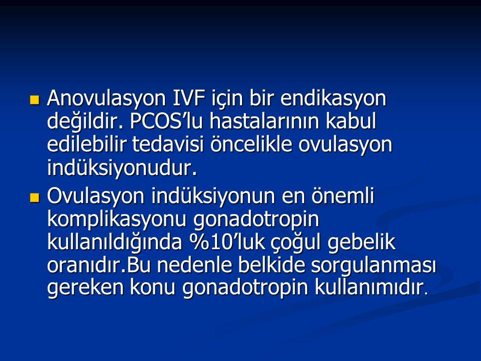Anovulasyon IVF için bir endikasyon değildir. PCOS'lu hastalarının kabul edilebilir tedavisi öncelikle ovulasyon indüksiyonudur. Anovulasyon IVF için