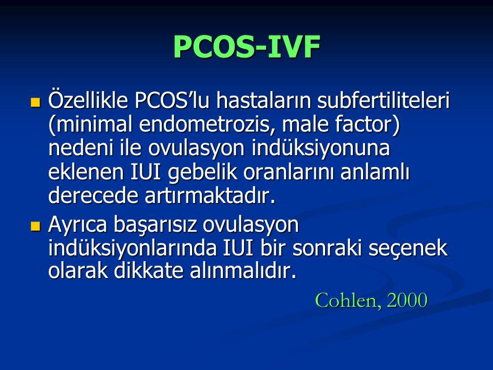 PCOS-IVF Özellikle PCOS'lu hastaların subfertiliteleri (minimal endometrozis, male factor) nedeni ile ovulasyon indüksiyonuna eklenen IUI gebelik oran
