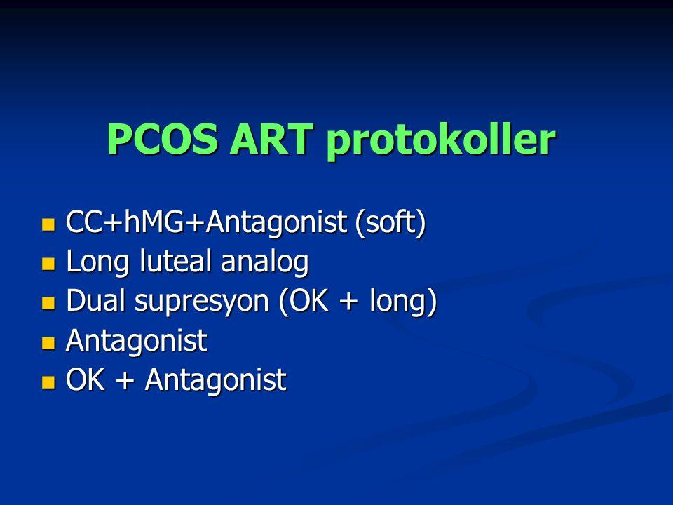 PCOS ART protokoller CC+hMG+Antagonist (soft) CC+hMG+Antagonist (soft) Long luteal analog Long luteal analog Dual supresyon (OK + long) Dual supresyon (OK + long) Antagonist Antagonist OK + Antagonist OK + Antagonist