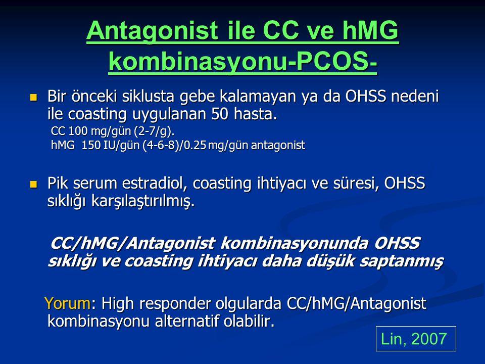 Antagonist ile CC ve hMG kombinasyonu-PCOS - Bir önceki siklusta gebe kalamayan ya da OHSS nedeni ile coasting uygulanan 50 hasta. Bir önceki siklusta