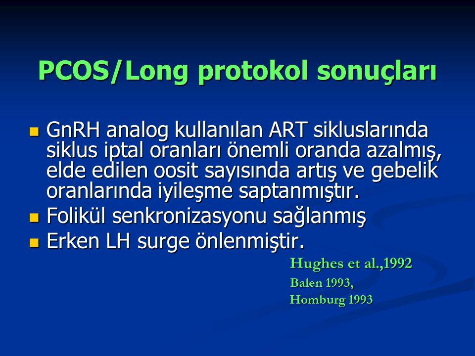 GnRH analog kullanılan ART sikluslarında siklus iptal oranları önemli oranda azalmış, elde edilen oosit sayısında artış ve gebelik oranlarında iyileşme saptanmıştır.