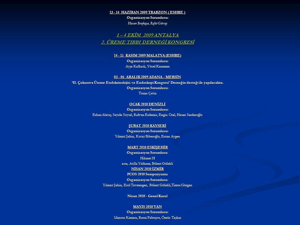 13 - 14 HAZİRAN 2009 TRABZON ( ESHRE ) Organizasyon Sorumlusu: Hasan Bozkaya, Rıfat Gürsoy 1 – 4 EKİM 2009 ANTALYA 2. ÜREME TIBBI DERNEĞİ KONGRESİ 14