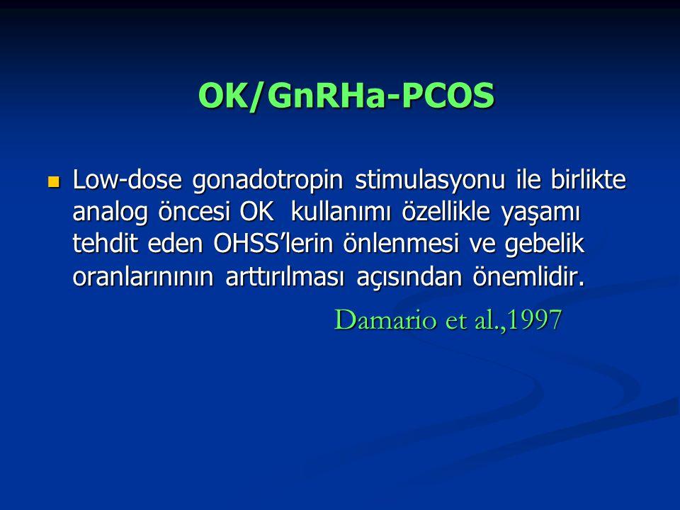 Low-dose gonadotropin stimulasyonu ile birlikte analog öncesi OK kullanımı özellikle yaşamı tehdit eden OHSS'lerin önlenmesi ve gebelik oranlarınının arttırılması açısından önemlidir.