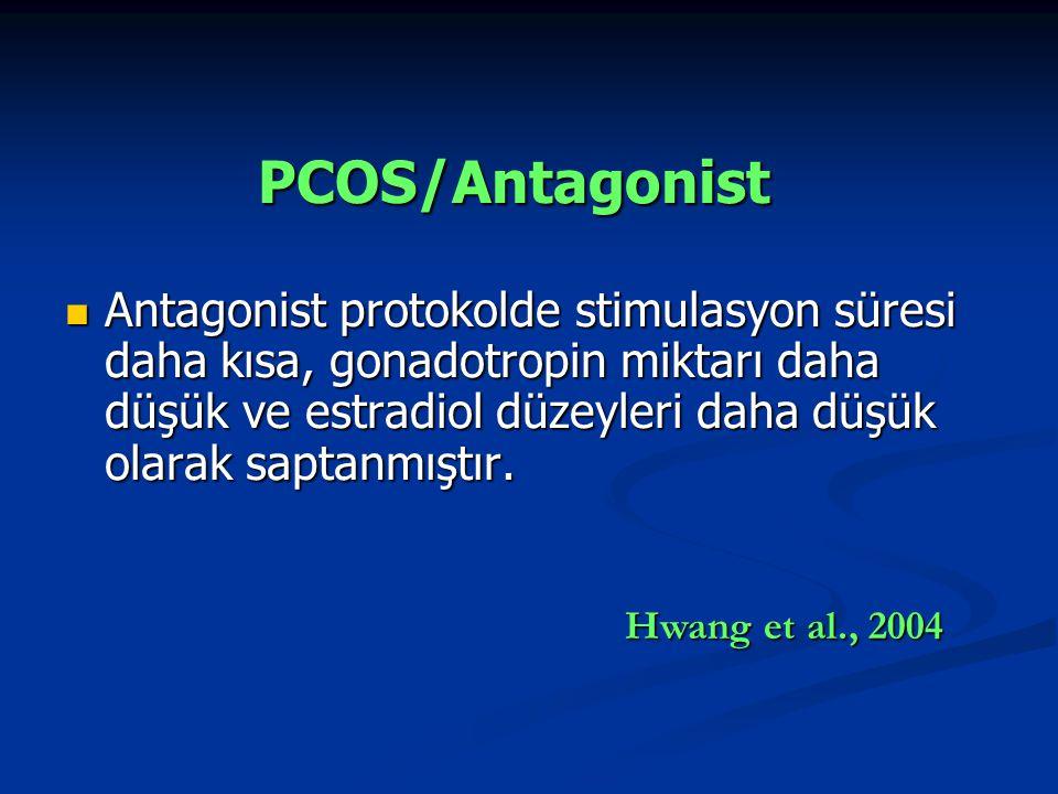 PCOS/Antagonist Antagonist protokolde stimulasyon süresi daha kısa, gonadotropin miktarı daha düşük ve estradiol düzeyleri daha düşük olarak saptanmıştır.