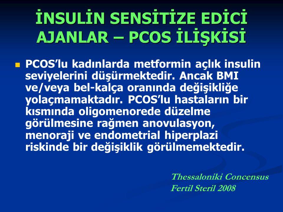 İNSULİN SENSİTİZE EDİCİ AJANLAR – PCOS İLİŞKİSİ PCOS'lu kadınlarda metformin açlık insulin seviyelerini düşürmektedir.