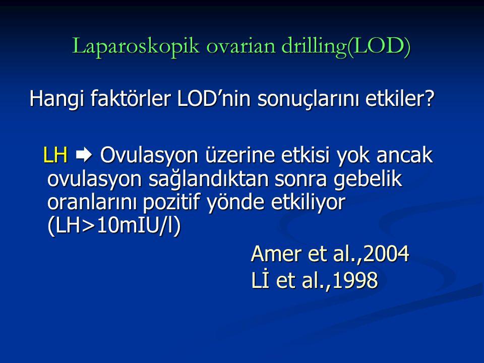 Laparoskopik ovarian drilling(LOD) Hangi faktörler LOD'nin sonuçlarını etkiler? LH  Ovulasyon üzerine etkisi yok ancak ovulasyon sağlandıktan sonra g