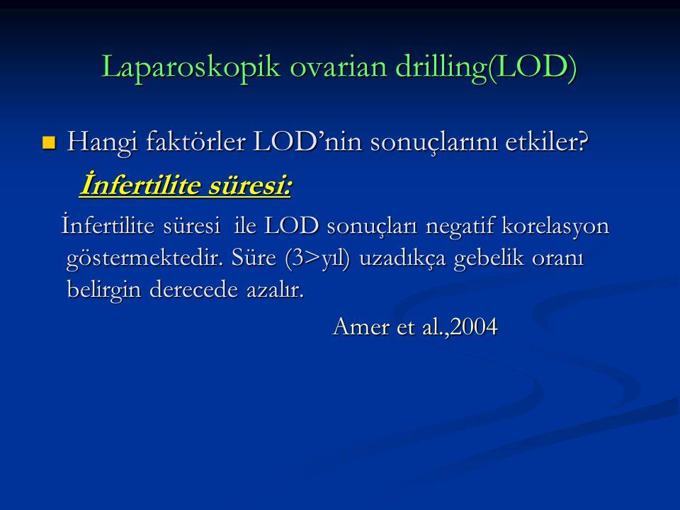 Laparoskopik ovarian drilling(LOD) Hangi faktörler LOD'nin sonuçlarını etkiler? Hangi faktörler LOD'nin sonuçlarını etkiler? İnfertilite süresi: İnfer