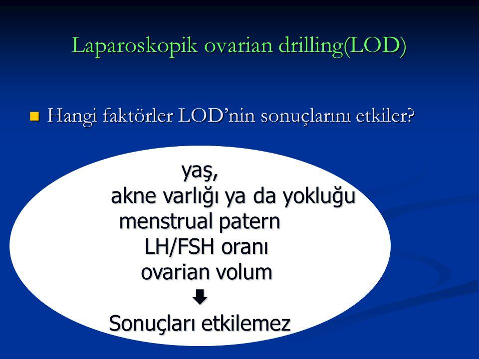 Laparoskopik ovarian drilling(LOD) Hangi faktörler LOD'nin sonuçlarını etkiler? Hangi faktörler LOD'nin sonuçlarını etkiler? yaş, akne varlığı ya da y