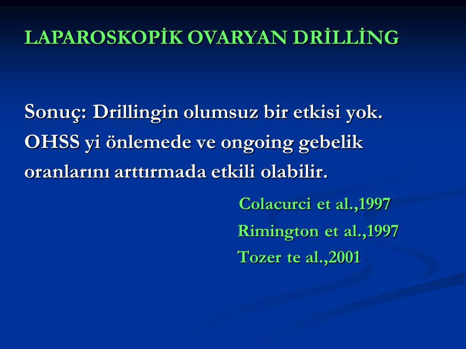 Sonuç: Drillingin olumsuz bir etkisi yok. OHSS yi önlemede ve ongoing gebelik oranlarını arttırmada etkili olabilir. Colacurci et al.,1997 Rimington e