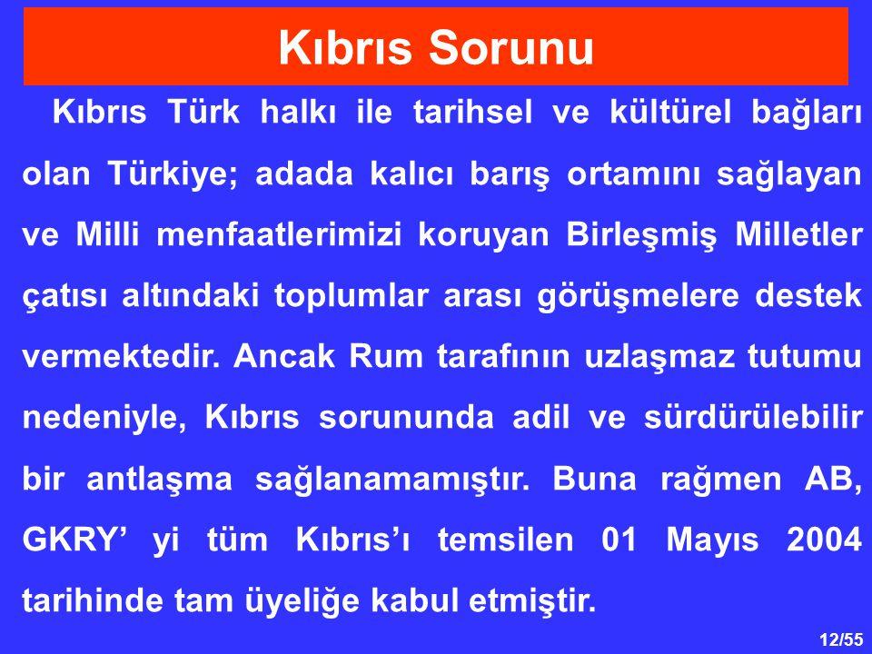 12/55 Kıbrıs Türk halkı ile tarihsel ve kültürel bağları olan Türkiye; adada kalıcı barış ortamını sağlayan ve Milli menfaatlerimizi koruyan Birleşmiş
