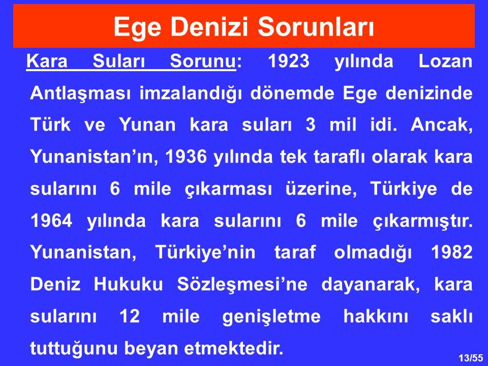 13/55 Kara Suları Sorunu: 1923 yılında Lozan Antlaşması imzalandığı dönemde Ege denizinde Türk ve Yunan kara suları 3 mil idi. Ancak, Yunanistan'ın, 1