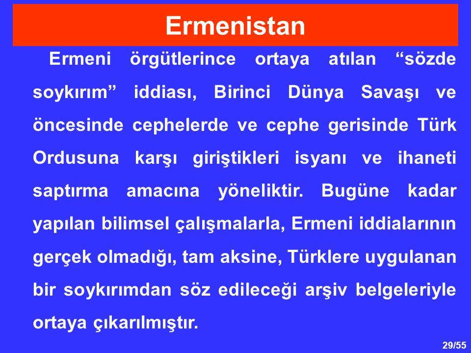 """29/55 Ermeni örgütlerince ortaya atılan """"sözde soykırım"""" iddiası, Birinci Dünya Savaşı ve öncesinde cephelerde ve cephe gerisinde Türk Ordusuna karşı"""