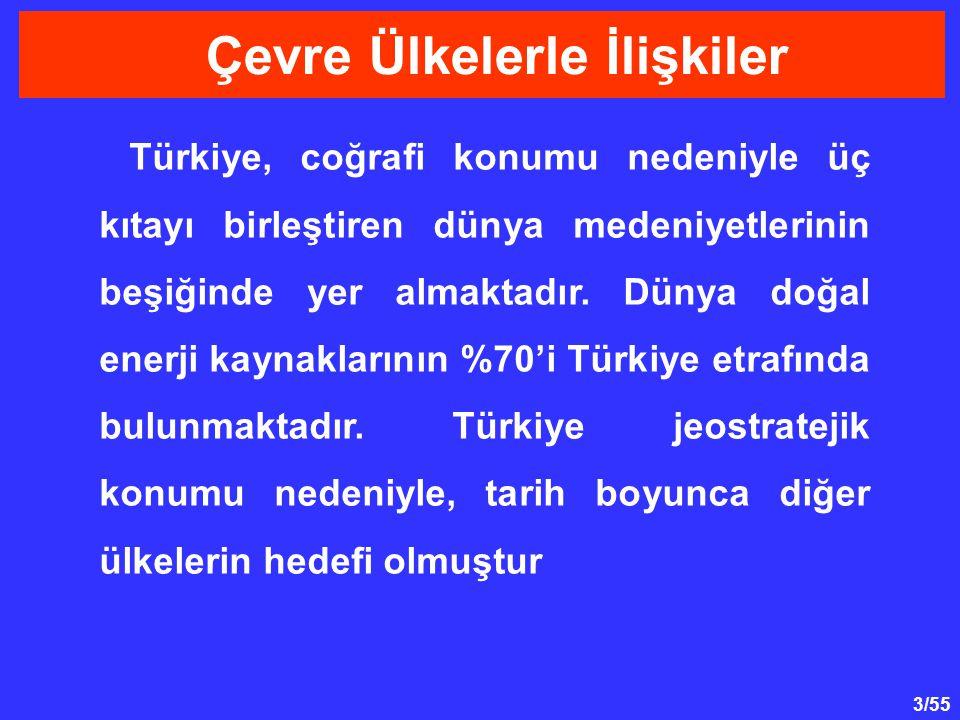 3/55 Çevre Ülkelerle İlişkiler Türkiye, coğrafi konumu nedeniyle üç kıtayı birleştiren dünya medeniyetlerinin beşiğinde yer almaktadır. Dünya doğal en