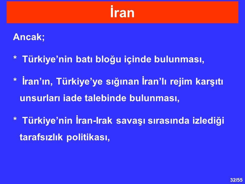 32/55 Ancak; * Türkiye'nin batı bloğu içinde bulunması, * İran'ın, Türkiye'ye sığınan İran'lı rejim karşıtı unsurları iade talebinde bulunması, * Türk