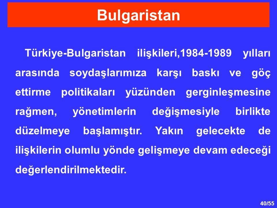 40/55 Türkiye-Bulgaristan ilişkileri,1984-1989 yılları arasında soydaşlarımıza karşı baskı ve göç ettirme politikaları yüzünden gerginleşmesine rağmen