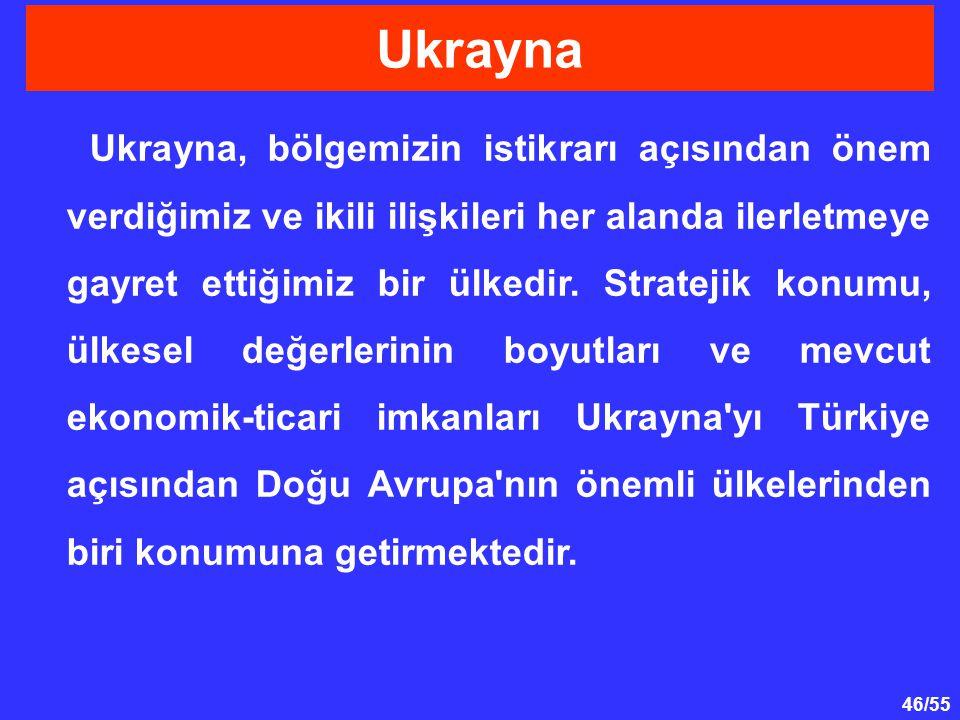 46/55 Ukrayna, bölgemizin istikrarı açısından önem verdiğimiz ve ikili ilişkileri her alanda ilerletmeye gayret ettiğimiz bir ülkedir. Stratejik konum