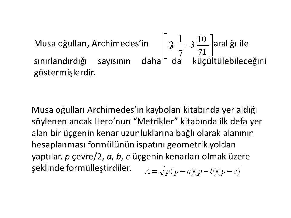 Musa oğulları, Archimedes'in, aralığı ile sınırlandırdığı sayısının daha da küçültülebileceğini göstermişlerdir. Musa oğulları Archimedes'in kaybolan