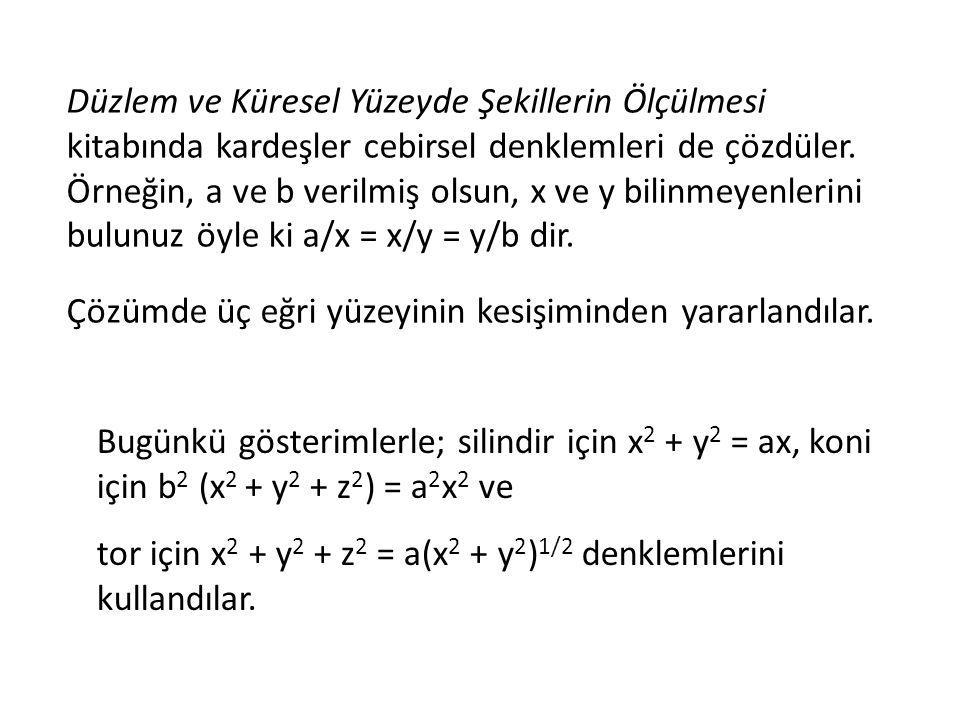 Düzlem ve Küresel Yüzeyde Şekillerin Ölçülmesi kitabında kardeşler cebirsel denklemleri de çözdüler. Örneğin, a ve b verilmiş olsun, x ve y bilinmeyen