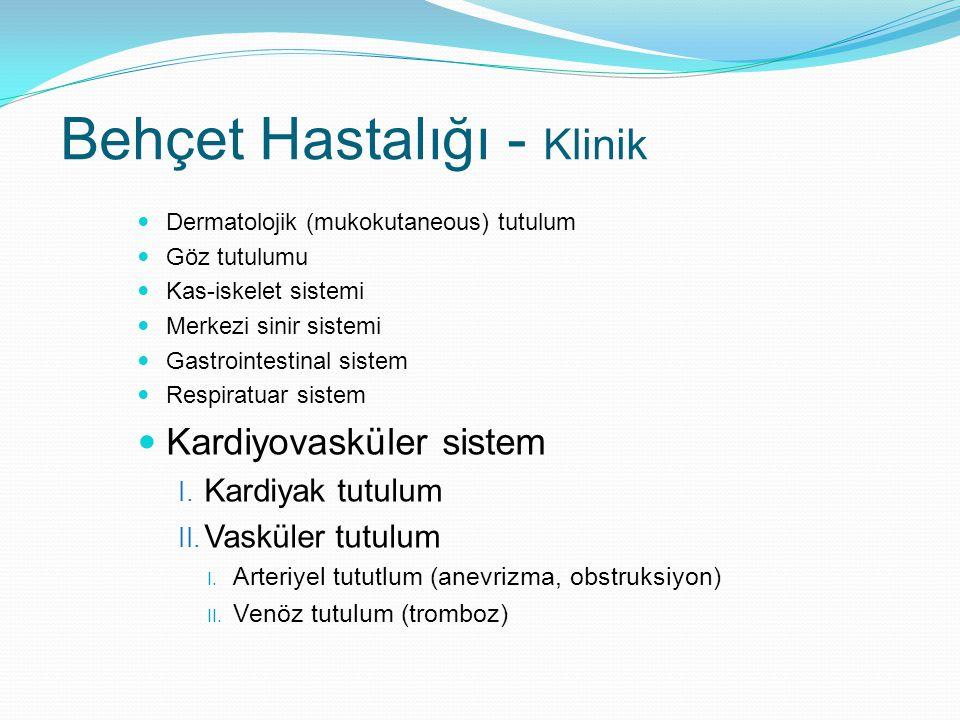 Dermatolojik (mukokutaneous) tutulum Göz tutulumu Kas-iskelet sistemi Merkezi sinir sistemi Gastrointestinal sistem Respiratuar sistem Kardiyovasküler