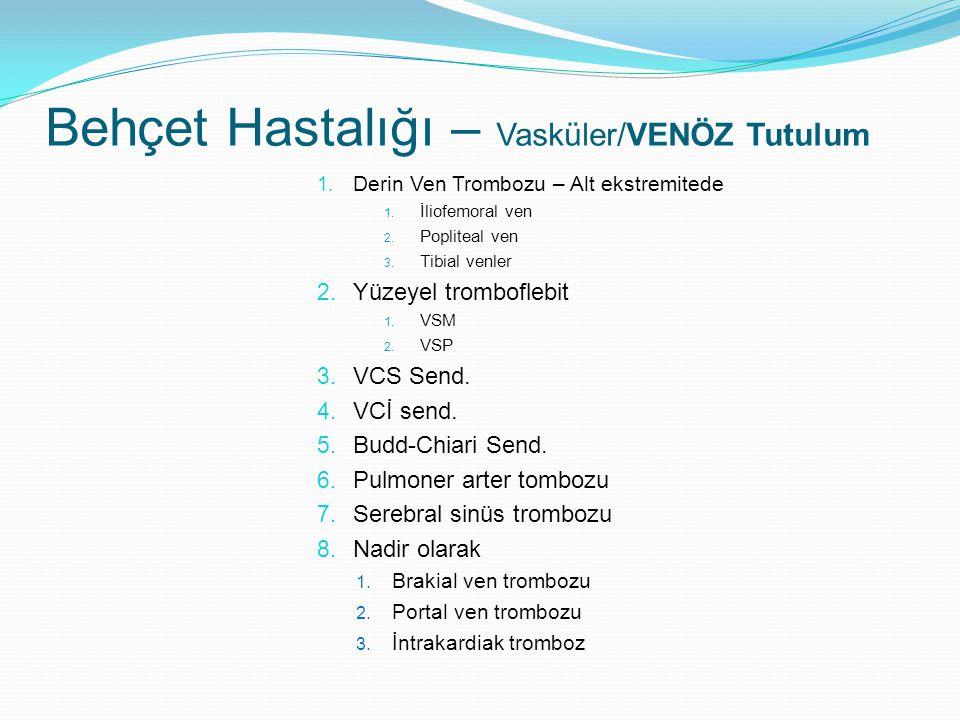 1. Derin Ven Trombozu – Alt ekstremitede 1. İliofemoral ven 2. Popliteal ven 3. Tibial venler 2. Yüzeyel tromboflebit 1. VSM 2. VSP 3. VCS Send. 4. VC
