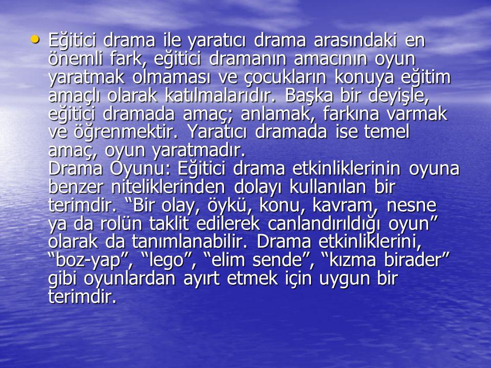 Eğitici drama ile yaratıcı drama arasındaki en önemli fark, eğitici dramanın amacının oyun yaratmak olmaması ve çocukların konuya eğitim amaçlı olarak