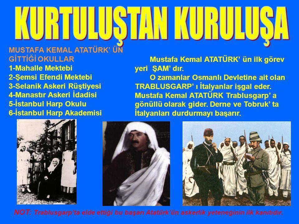 MUSTAFA KEMAL ATATÜRK' ÜN GİTTİĞİ OKULLAR 1-Mahalle Mektebi 2-Şemsi Efendi Mektebi 3-Selanik Askeri Rüştiyesi 4-Manastır Askeri İdadisi 5-İstanbul Har