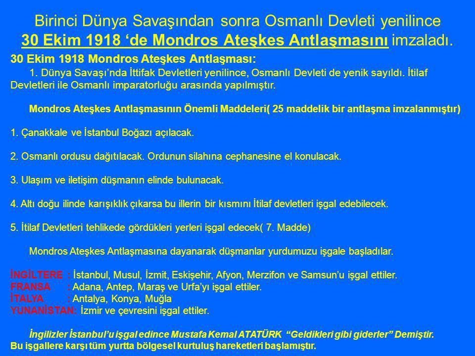 Mustafa Kemal 19 Mayıs 1919'da Bandırma Vapuru ile 9.