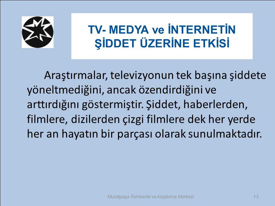 13 TV- MEDYA ve İNTERNETİN ŞİDDET ÜZERİNE ETKİSİ Muratpaşa Rehberlik ve Araştırma Merkezi Araştırmalar, televizyonun tek başına şiddete yöneltmediğini