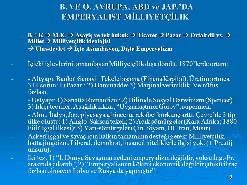 19 B. VE O. AVRUPA, ABD ve JAP.'DA EMPERYALİST MİLLİYETÇİLİK B. VE O. AVRUPA, ABD ve JAP.'DA EMPERYALİST MİLLİYETÇİLİK B + K  M.K.  Asayiş ve tek hu