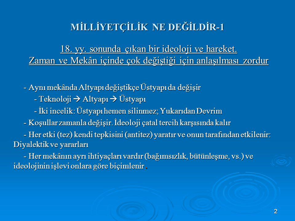 3 MİLLİYETÇİLİK NE DEĞİLDİR-2 Zorluğun diğer nedenleri - Kavram fakirliği ve ideoloji körlüğü: güvercin kutuları örneği - Egemen ideolojiye kapılma ve yaranmanın etkisi: milliyetçi-mukaddesatçı, Türk Yükseltme Cemiyeti, eklektik yaklaşım - Eski tutunum ideolojisinin etkisi (din): Tanrı Dağı, Hıra Dağı.