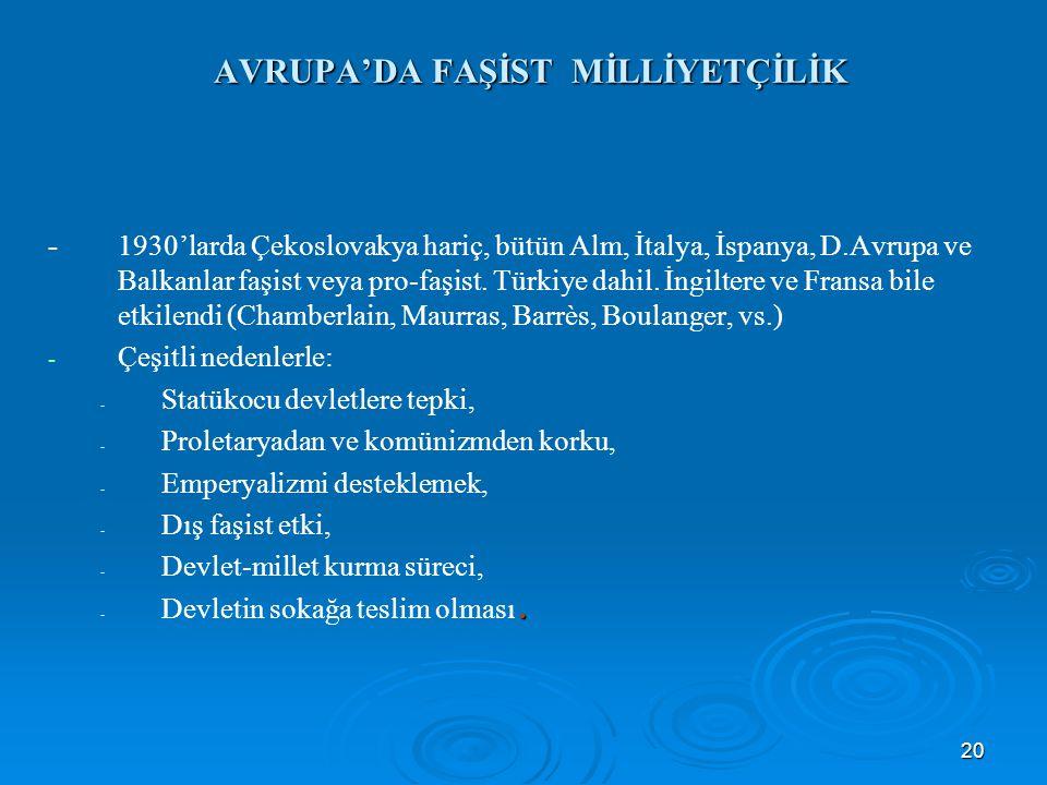 20 AVRUPA'DA FAŞİST MİLLİYETÇİLİK -1930'larda Çekoslovakya hariç, bütün Alm, İtalya, İspanya, D.Avrupa ve Balkanlar faşist veya pro-faşist. Türkiye da