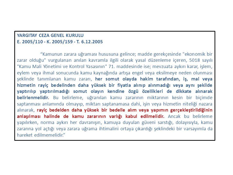 """YARGITAY CEZA GENEL KURULU E. 2005/110 - K. 2005/159 - T. 6.12.2005 """"Kamunun zarara uğraması hususuna gelince; madde gerekçesinde"""
