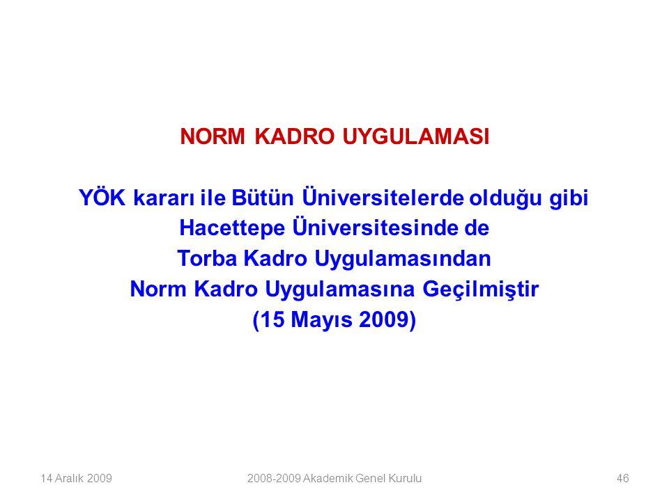 46 NORM KADRO UYGULAMASI YÖK kararı ile Bütün Üniversitelerde olduğu gibi Hacettepe Üniversitesinde de Torba Kadro Uygulamasından Norm Kadro Uygulamasına Geçilmiştir (15 Mayıs 2009) 14 Aralık 20092008-2009 Akademik Genel Kurulu