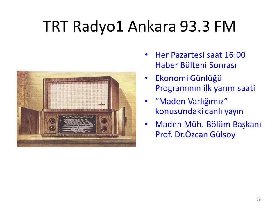 56 TRT Radyo1 Ankara 93.3 FM Her Pazartesi saat 16:00 Haber Bülteni Sonrası Ekonomi Günlüğü Programının ilk yarım saati Maden Varlığımız konusundaki canlı yayın Maden Müh.