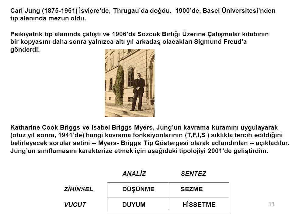 11 Carl Jung (1875-1961) İsviçre'de, Thrugau'da doğdu. 1900'de, Basel Üniversitesi'nden tıp alanında mezun oldu. Psikiyatrik tıp alanında çalıştı ve 1