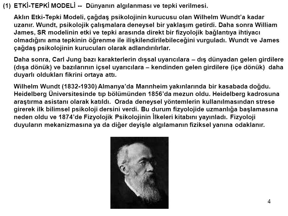 4 (1)ETKİ-TEPKİ MODELİ -- Dünyanın algılanması ve tepki verilmesi. Aklın Etki-Tepki Modeli, çağdaş psikolojinin kurucusu olan Wilhelm Wundt'a kadar uz