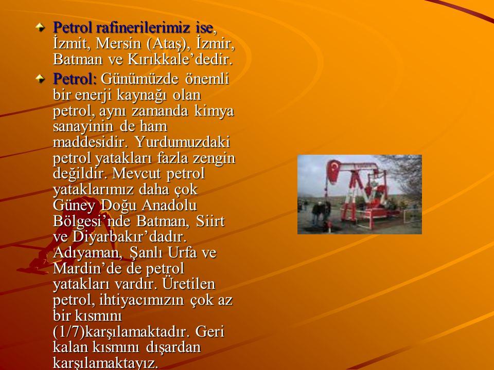 Petrol rafinerilerimiz ise, İzmit, Mersin (Ataş), İzmir, Batman ve Kırıkkale'dedir. Petrol: Günümüzde önemli bir enerji kaynağı olan petrol, aynı zama