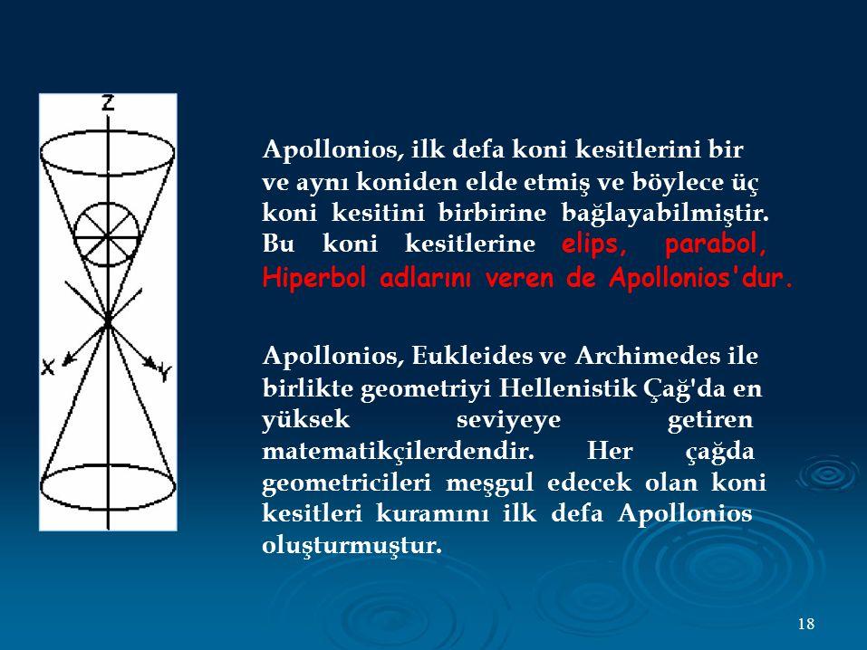 Apollonios, ilk defa koni kesitlerini bir ve aynı koniden elde etmiş ve böylece üç koni kesitini birbirine bağlayabilmiştir.