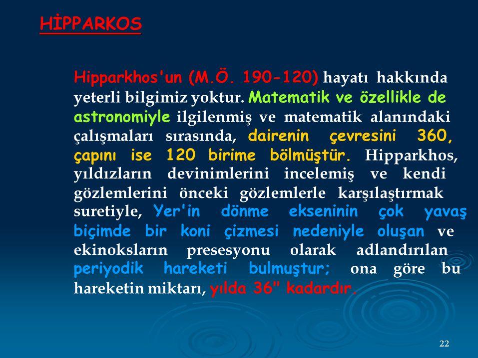 HİPPARKOS Hipparkhos un (M.Ö.190-120) hayatı hakkında yeterli bilgimiz yoktur.