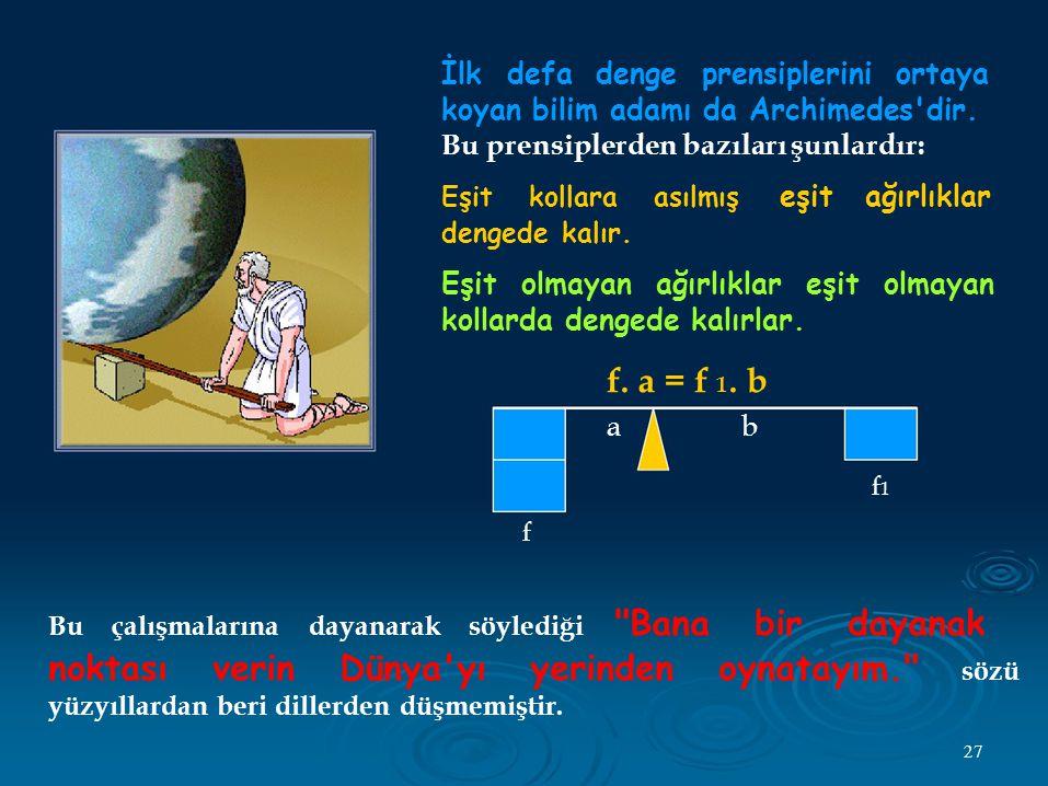 İlk defa denge prensiplerini ortaya koyan bilim adamı da Archimedes dir.