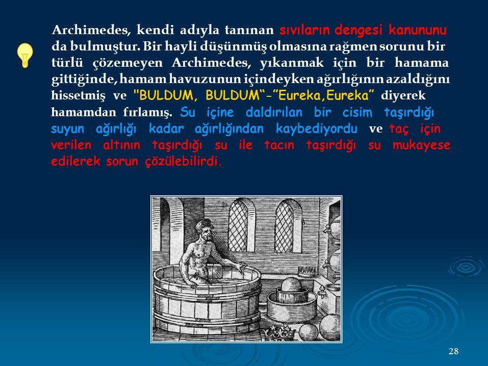 Archimedes, kendi adıyla tanınan sıvıların dengesi kanununu da bulmuştur.